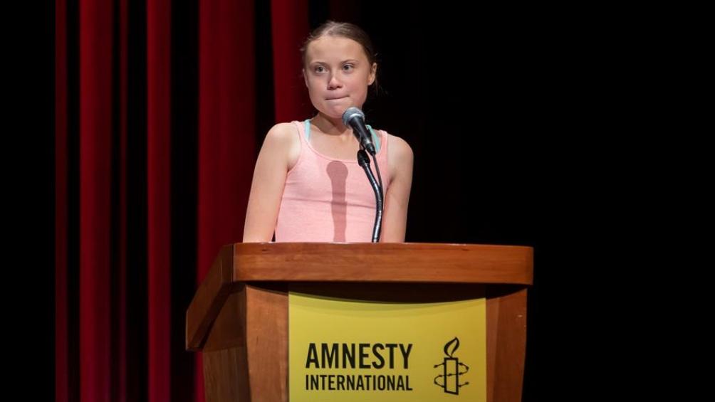 El lunes 16 de septiembre, Greta habló sobre cambio climático en la Universidad George Washington.