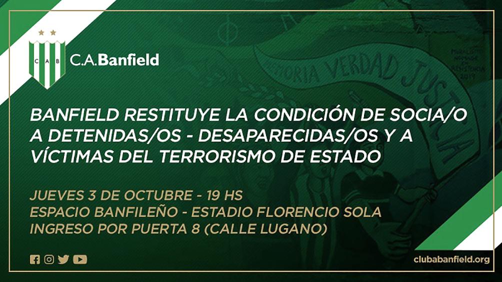 Banfield, primer club en reasociar a sus detenidos-desaparecidos