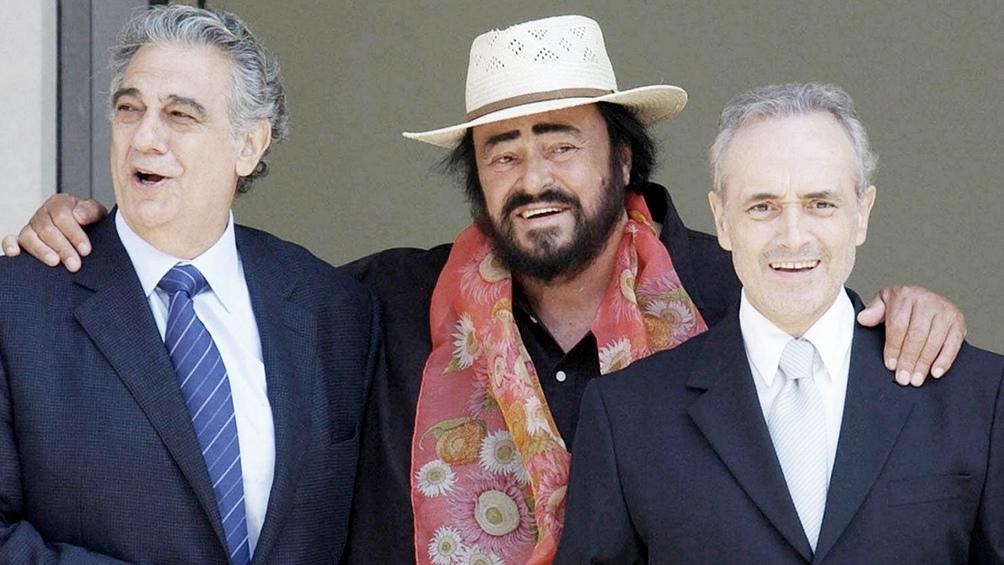 José Carreras junto a Plácido Domingo y Luciano Pavarotti, quien falleció en 2007.