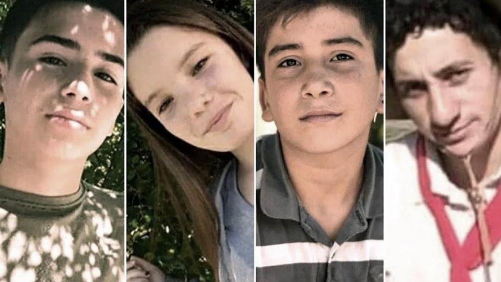 Las víctimas: Gonzalo Domínguez (14), Camila López (13), Danilo Sansone (13) y Carlos Aníbal Suárez (22).