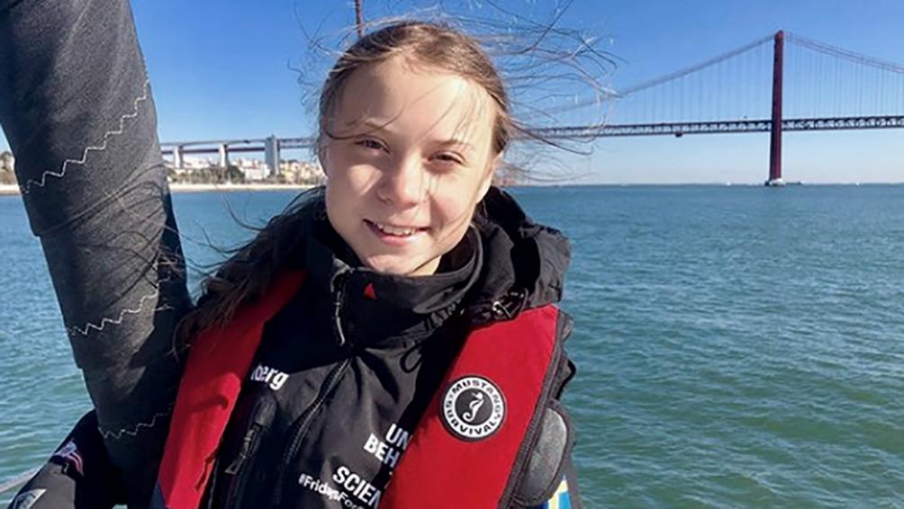 Greta Thunberg llegó a Lisboa rumbo a la  Cumbre del Clima