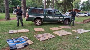 Secuestran 836 kilos de marihuana abandonada en el monte misionero