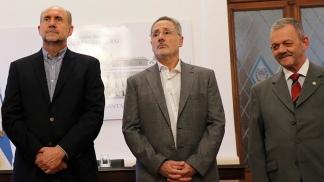 El gobernador Perotti, el ministro Saín y el comisario Sarnaglia