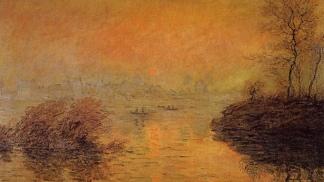 """""""Puesta de sol sobre el Sena en Lavacourt"""", de Claude Monet. Öleo sobre tela de 1880."""