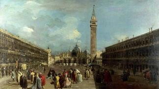 """""""Vista de la Plaza de San Marcos en Venecia"""", de Francesco Guardi. Óleo sobre tela de 1760."""