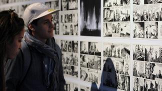 Viñetas de la historieta durante una muestra en Tecnópolis