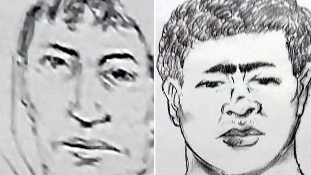Identikit: a la derecha, el acusado de retener al bebé. A la izquierda, el presunto abusador.