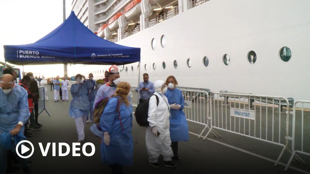 Continúa el operativo de sanidad al crucero de Brasil en el puerto de Buenos Aires