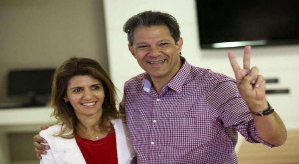 Fernando Haddad en San Pablo, antes de la votación. foto: Agencia Brasil / Marcelo Camargo
