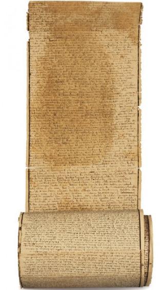 El texto más famoso de Sade se escribió sobre el papel de un rollo de más de 12 metros de largo formado por 33 hojas pegadas.