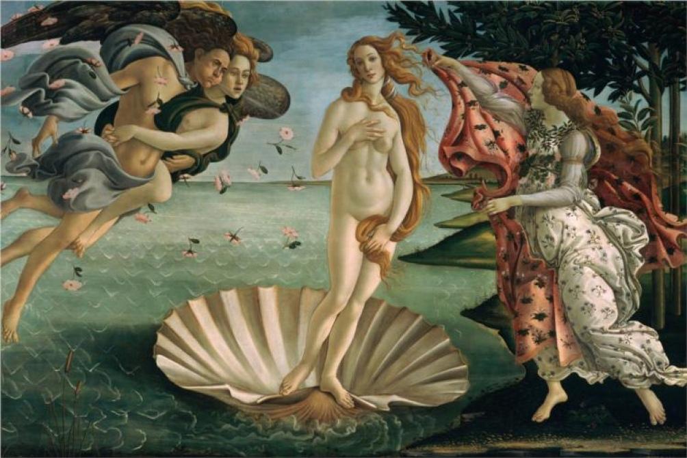 """""""El nacimiento de Venus"""" (1485) de Botticelli, obra cumbre del Renacimiento florentino y uno de los mayores tesoros de los Uffizi ."""