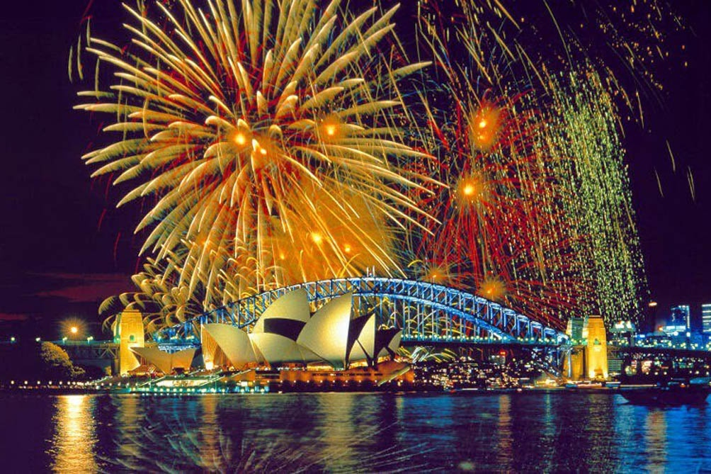 En Sidney, la mayor ciudad de Australia, se realizaron los tradicionales shows de fuegos artificiales.