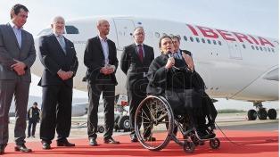 Michetti fue madrina de un avión de Iberia, en el 70 aniversario de su llegada a América Latina