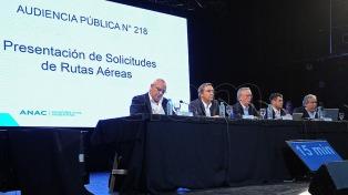 Audiencia Pública: cinco empresas presentaron solicitudes de nuevas rutas de cabotaje e internacionales