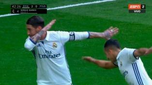 """Real Madrid derrotó al Málaga y sigue firme en la punta de la """"Liga"""""""