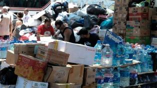 Recepcionan donaciones para llevar a los damnificados de La Emilia