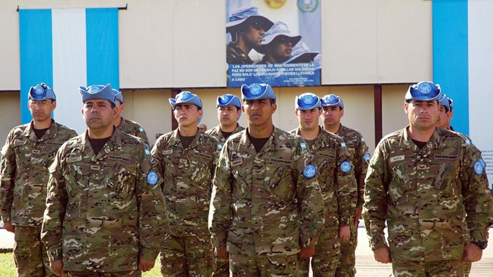 Un grupo de Cascos Azules que actualmente están en Chipre.