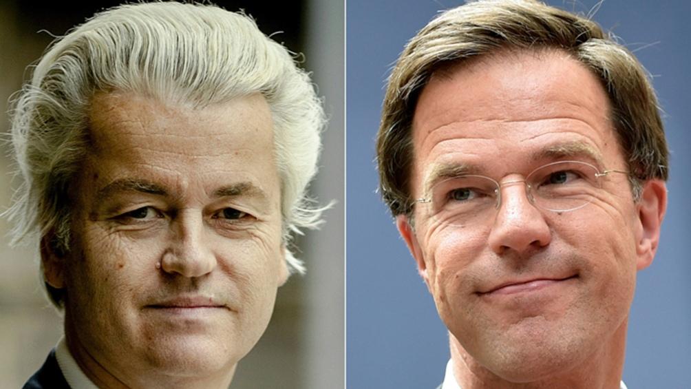 El opositor Geert Wilders (PVV) y el primer ministro Mark Rutte (VVD) es una nueva pulseada electoral