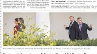 La visita de Macri reflejada en la tapa del New York Times