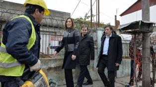 Vidal recorrió obras de cloacas en San Miguel