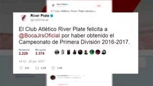 En su cuenta de Twitter, River felicitó al Boca campeón