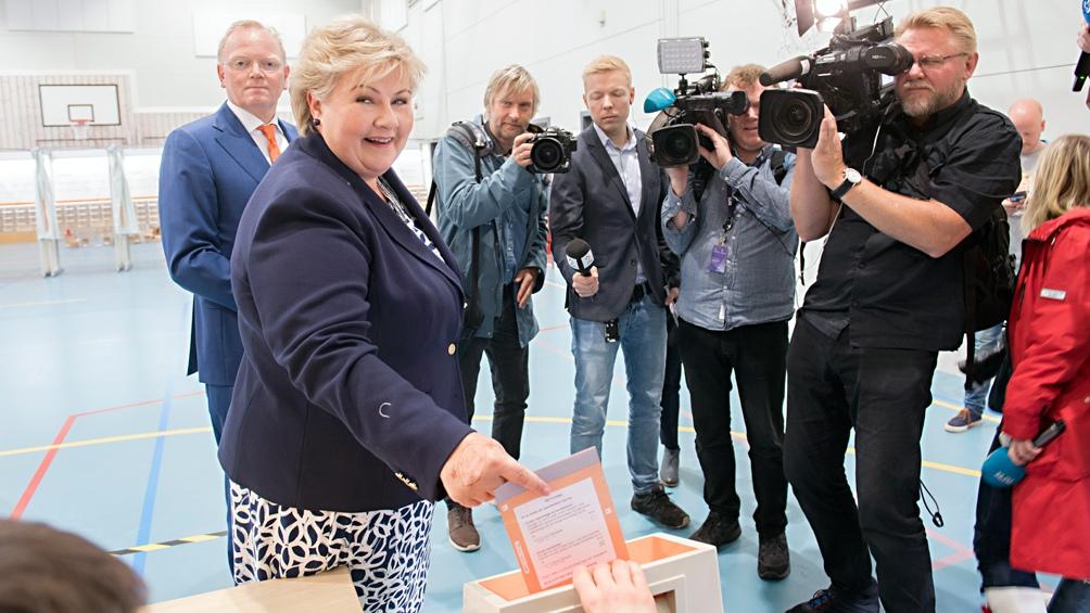 Erna Solberg, premier desde 2013, busca un tercer mandato