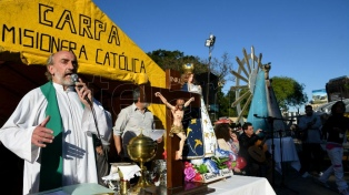 Organizaciones sociales participaron de una misa contra la trata en Plaza Constitución