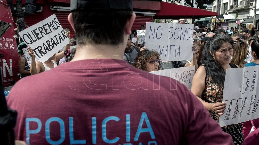 Protesta de vendedores ambulantes y manteros.