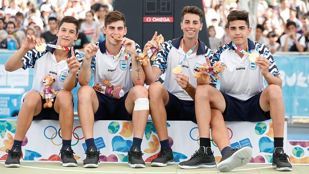 Los chicos de Argentina en Buenos Aires 2018 ganadores del oro en 3x3