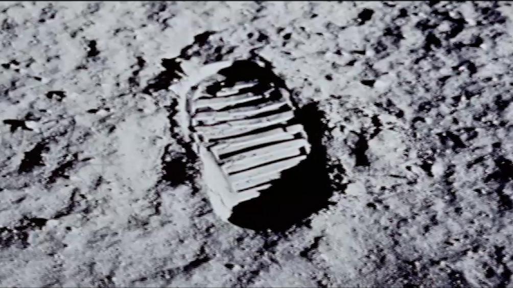 La primera huella del hombre en la Luna, en 1969.
