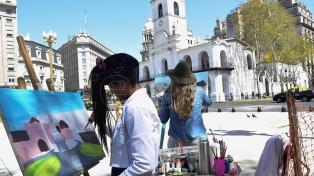 """Casi 500 artistas participaron del """"Concurso de pintura al aire libre"""" en Avenida de Mayo"""