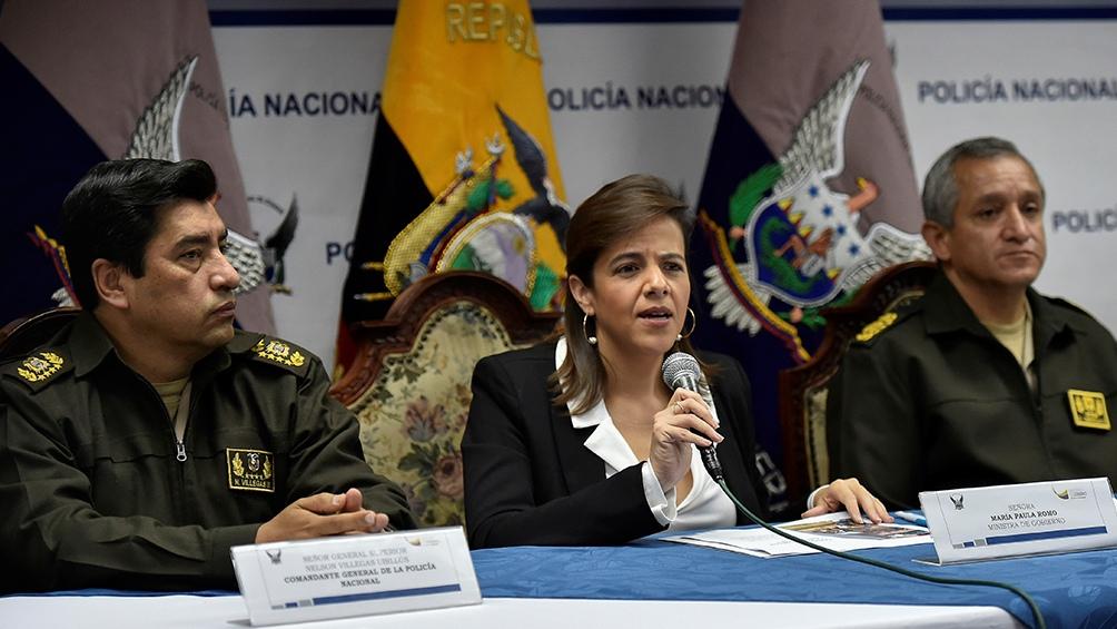 El Parlamento ecuatoriano destituyó a la ministra de Gobierno, María Paula Romo