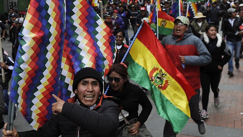Protestas callejeras tras el golpe de Estado en Bolivia