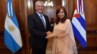 Cristina Fernández de Kirchner recibió en el Senado al presidente de Cuba