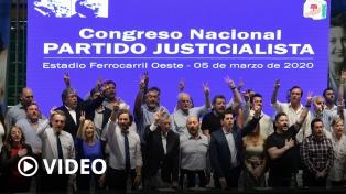 El PJ llamó a la unidad en un congreso en el que brindó su apoyo al Gobierno