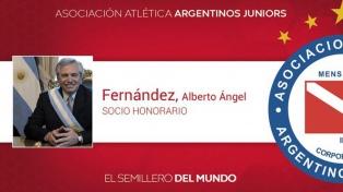 Alberto Fernández, socio honorario de Argentinos Juniors