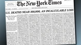 La portada del The New York Times con los nombres de mil víctimas de coronavirus