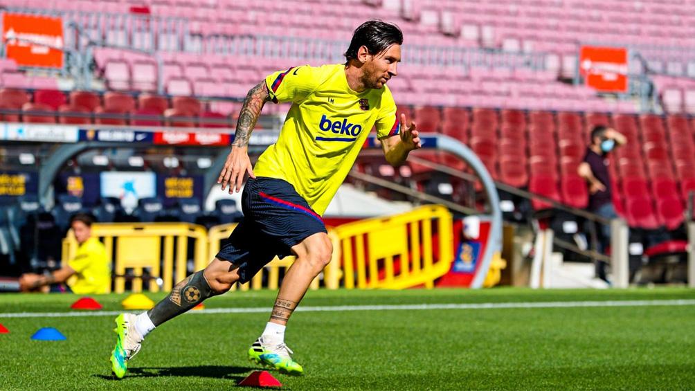 Messi practicó con normalidad en la primera sesión del Barcelona en el Camp Nou