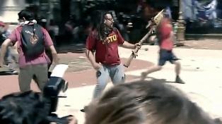 Se negó a declarar Sebastián Romero, el detenido por disparar un mortero en una marcha