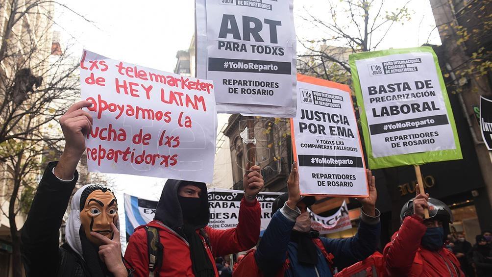 En distintas provincias hubo movilizaciones en reclamo de derechos para quienes trabajan como repartidores.