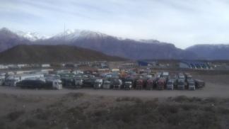 En Uspallata espera el grueso de los vehículos