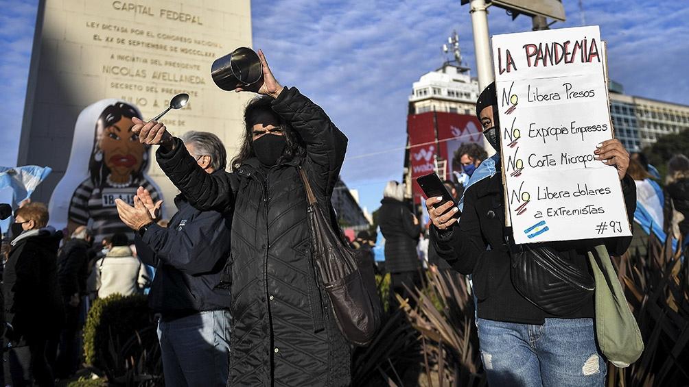 Protesta en el centro porteño