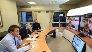 Videoconferencia con el Presidente, Massa y Máximo Kirchner.