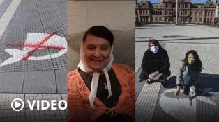 Los pañuelos de las Madres en Plaza de Mayo vuelven a lucir blancos tras ser vandalizados