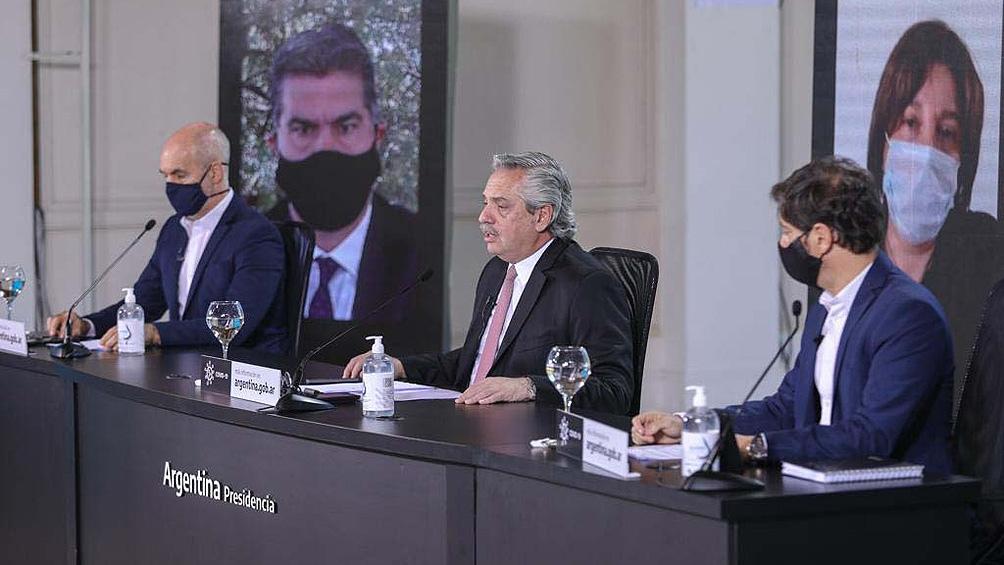 El gobernador participó del anuncio en Olivos junto a Alberto Fernández y a Horacio Rodríguez Larreta.
