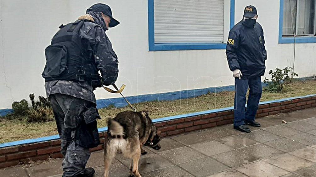 Participaron bomberos de la división K9 de Punta Alta y el adiestrador Marcos Herrero, con el perro Duke.