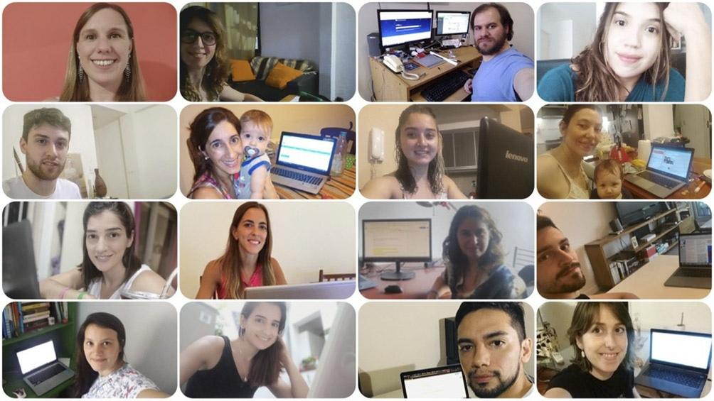 El equipo Anti fake news del Conicet, en plena reunión de Zoom.