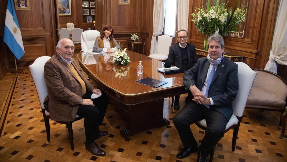 Cristina Fernández de Kirchner, José Carlos Martins, Roberto Domenech y Gustavo Idigoras.