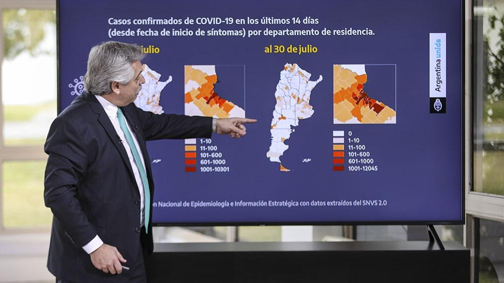 El Presidente anunció la extensión de la cuarentena asta el 16 de agosto para mitigar el contagio.