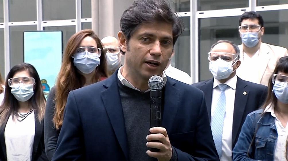 Kicillof formuló declaraciones en la inauguración del área Covid-19 del Hospital del Bicentenario, en Ituzaingó.